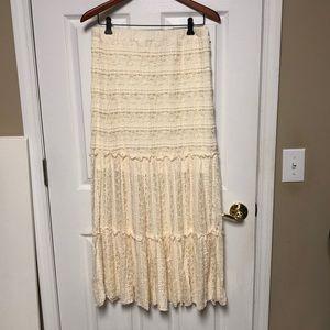 Xhilaration long cream lace skirt
